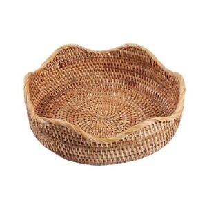 Handmade Straw Dried Tray Basket Hand-Woven Storage Box Rattan Box Natural Decor