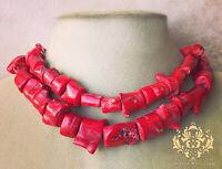 Red Freeform Genuine Coral Statement Necklace2-Strand Chunky Raw Branch Jewelry
