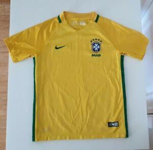 Nike Brasil CBF 2016 Authentic Home Soccer Jersey Brazil Dri-Fit Sewn Kids Med