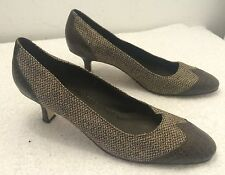MARKS AND SPENCER BROWN LEATHER & HERRINGBONE SHOES ~ SIZE 6/ 39.5