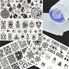 6Pcs Nail Art Stamping Plates Wave Christmas  Stamp Template W/Stamper Scraper