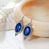 Vintage Drop Style Blue Fire Topaz Gemstone Silver Dangle Hook Earrings New