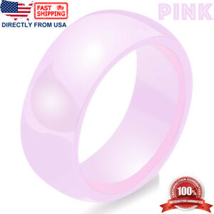 Ceramic Wedding Band Womens Mens Durable Hypoallergenic 8mm Comfort Fit Ring