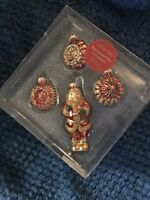 ST. NICHOLAS SQUARE EUROPEAN GLASS ORNAMENTS Mouth Blown Hand Decorated Set of 4