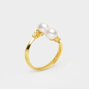 5A Double White Japanese Akoya Saltwater Pearl Ring 18K Yellow Gold Diamonds
