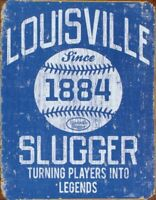 Louisville Slugger Blue Baseball Classic Rustic Retro Tin Metal Sign 13 x 16in