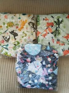 Diaper Covers, Lot Of 3, Printed w Foxes, Animals and Snowmen, New