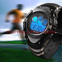 OHSEN Mens Boys LCD Digital Alarm 8 Modes Backlight Casual Sport Wrist Watch