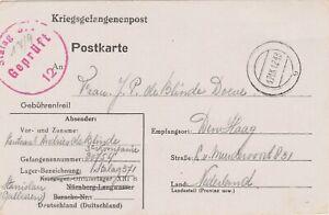 Prisoner of war postcard censored Stalag 1942 to Den Haag Holland