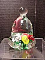 Bob & Maude St Clair Paperweight 1979 Multi Color Flowers Bubbles Bell Shape