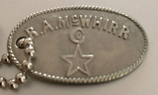 Vintage Charge Plate Coin Tag: RA McWhirr Co; Fall River MA; Famous Dept Store