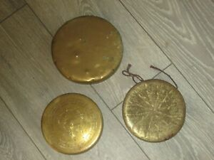 Brass dinner gongs 1 x 7 inch & 2 x 6 inches lovely looking and great tone