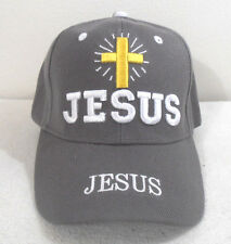 RELIGIOUS BALL CAP  NEW  JESUS WITH CROSS  DARK GRAY  HAT CHRISTIAN