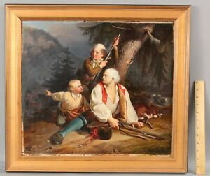 Antique THEODOR VON DESCHWANDED Genre Oil Painting Wounded Man Swiss Soldiers NR
