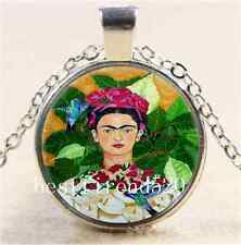 Frida Kahlo and Bird Cabochon Glass Tibet Silver Chain Pendant  Necklace