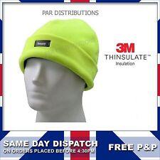 Mens Hi Vis Fleece Thermal Beanie Bob Cap 3M Thinsulate Outdoor Workwear Winter