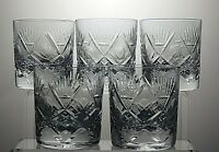 "LARGE HEAVY LEAD CRYSTAL CUT GLASS TUMBLERS SET OF 5 - 3 3/4"" TALL 13 OZ"