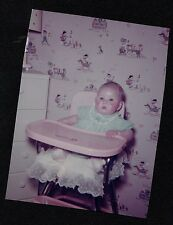 Old Vintage Photograph Most Adorable Baby Ever Sitting in High Chair Retro Room