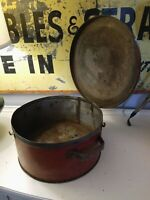 Vintage Red Metal Box Pan Lid Protectoseal Co Chicago Steel Round Bread Can Tin