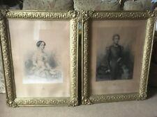 Pair Large Gilt Framed Pre 1900 Lithograph Prints