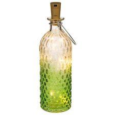 Deko Flasche grün-weiss Noppenglas Korken Lichterkette Flaschenlicht Beleuchtung
