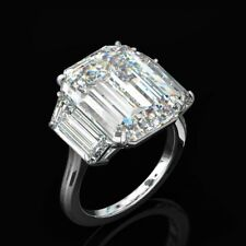 Cocktail Party Ring 925 Silver Large 24.64cttw Three-Stone Emerald Cut Diamond