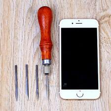Brown Diy Leather Handle 4in1 Stitching Lacing Scratch Awl Tool Hardwood Handle