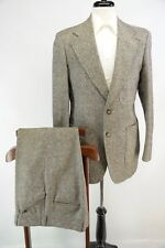 VTG Barley Corn Tweed Brown Red Triple Patch Pocket Suit Made in USA 40R 36 31