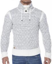 Unifarbene Herren-Pullover aus Mischwolle mit Stehkragen