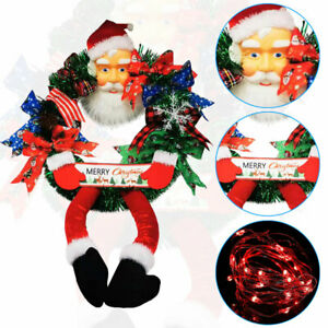 Large Christmas Decorations Front Door Wreath Wall Party Decor Santa Claus Legs