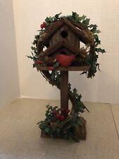 Christmas Wooden Birdhouse Tabletop/Mantel Decor ~ EUC