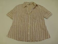 Womens Size L Red & Brown Striped Button Down Shirt Great Condition