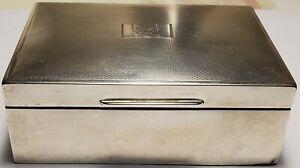 Hallmarked English Sterling Silver Cigarette Box Harman Bros Bermuda Coat of Arm