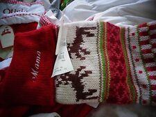 Pottery Barn Kids Fair Isle knit Reindeer Stocking Christmas mono Mama New