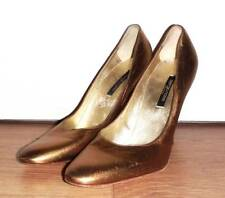 NEW SERGIO ROSSI Gold Leather Pumps Stiletto Heels - UK 6.5 US 9 EU 40