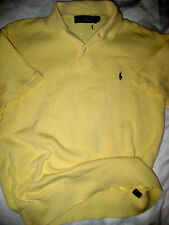 VTG POLO RALPH LAUREN SOFT COTTON KNIT SAFFRON YELLOW SWEATER SHIRT-NICE! -M