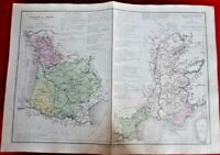 Antique Carte France Bassin de Garonne Rhône Aveyron Ariège Vaucluse Macon 1870