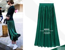 Women Vintage Metallic Long Midi Pleated Skirt Stretch High Waist Casual UK