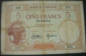 Nouvelle Calédonie, Nouméa, 5 Francs type 1926-29 Indo-Chine
