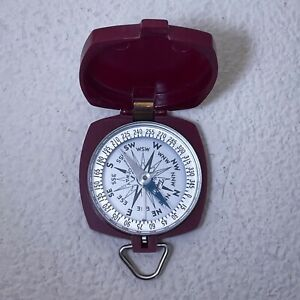 Taylor USA Gydeway Vintage Pocket Compass Maroon Bakelite In Hand Ships Today!