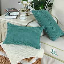Set of 2 Teal Cushion Covers Throw Pillows Shells Corduroy Corn Striped 30x50cm