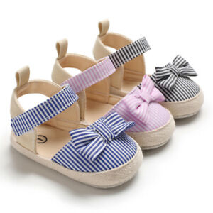 Newborn Baby Girl BowKnot Crib Shoes Summer Sandals Infant Inhouse Crawling Shoe