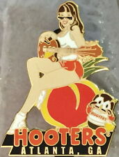 HOOTERS Atlanta GA Sexy Waitress WHITE GIRL Playing Guitar Sitting on Peach Owl!