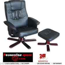 Black Recliner Chair & Foot Stool - Black Leather Swivel & Recline Office Chair