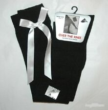 LADIES  GIRLS WHITE /& BLACK OVER THE KNEE SOCKS WITH NEON COLOUR BOW