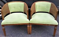 Pair of Vintage Oak Wood Barrel Club Armchairs Cane Sides Tufted Green Velvet