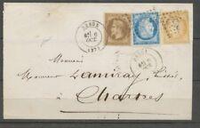 1878 TRIPLE PORT TRICOLORE, 30c. Lauré + Céres N°55 + 60 obl. GC, C.17 X1100