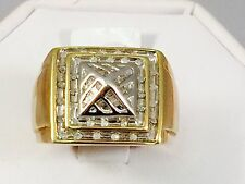 Solid 10K  Yellow Gold Diamond Men's Ring 0.5 CT 9.5 gr Free Shipping