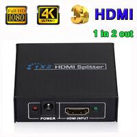 Audio HDTV 1x2 1080p 4K Full HD Hub Adapter Repeater Splitter HDMI