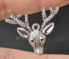 Wholesale 10pcs Tibetan Silver Deer Head Charm Pendants Jewelry Findings A3346